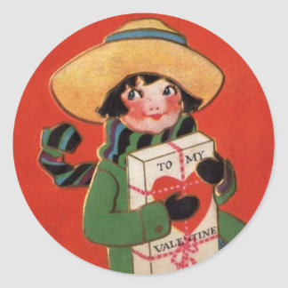 Girl in Hat with Valentine Package Vintage Sticker