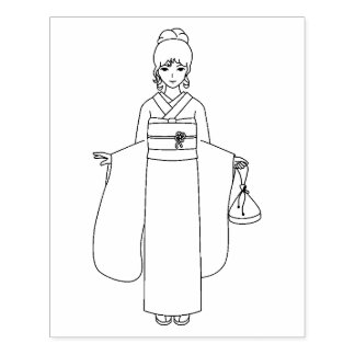 Girl in Japanese Kimono Dress Coloring Page Rubber Stamp