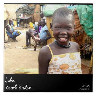 Girl in Juba, South Sudan Large Square Tile