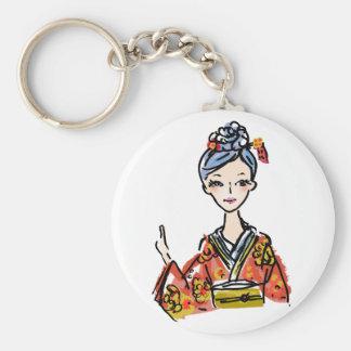 Girl in kimono key ring