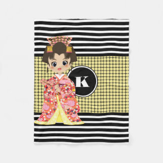 Girl in Kimono w/Modern Patterns Fleece Blanket