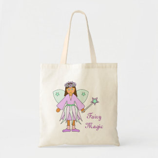 Girl in Lilac and Green Fairy Costume Tote Bag