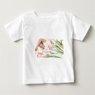 Girl in Milk with Flowers Baby T-Shirt