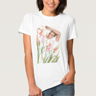 Girl in Milk with Flowers Tshirts