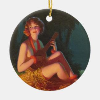 Girl in Moonlight with Banjo Ukulele Ceramic Ornament