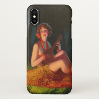 Girl in Moonlight with Banjo Ukulele iPhone X Case