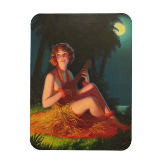 Girl in Moonlight with Banjo Ukulele Magnet