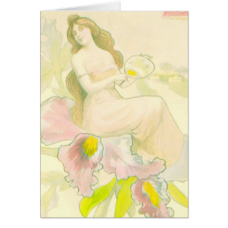 Girl in Orchid Greeting Card