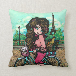 Girl in Paris France Eiffel Tower Art Pillow