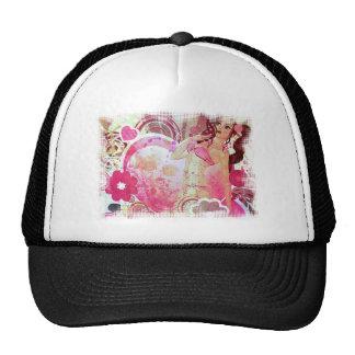 Girl in pink bikini and big heart cap