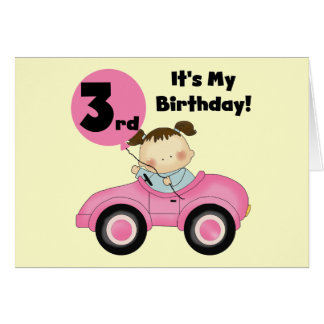 Girl in Pink Car 3rd Birthday Tshirts and Gifts Card