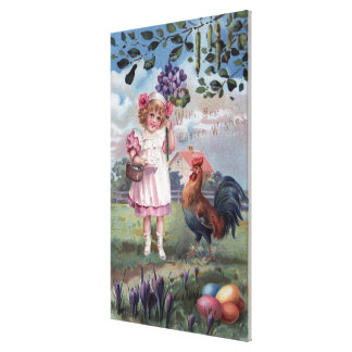 Girl in Pink Holding Purple Flowers Stretched Canvas Prints