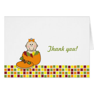 Girl in Pumpkin Baby Shower Thank You Notes