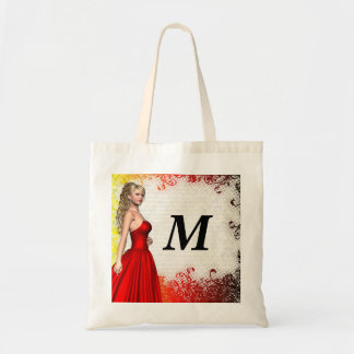 Girl in red dress budget tote bag