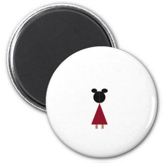 Girl in red dress magnet