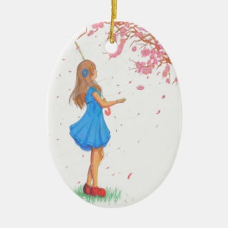 Girl in red shoes ceramic oval decoration