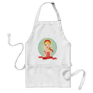 Girl in red standard apron