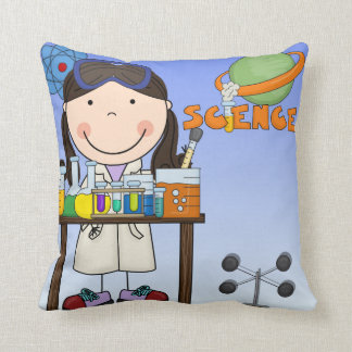 Girl in Science Lab Pillow