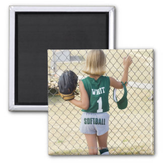 Girl in softball uniform square magnet