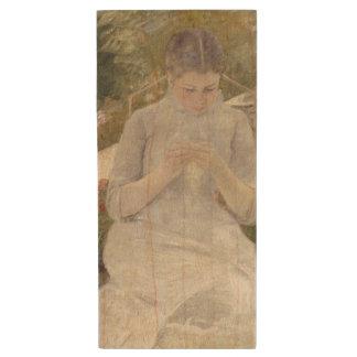 Girl in the Garden by Mary Cassatt Wood USB 2.0 Flash Drive