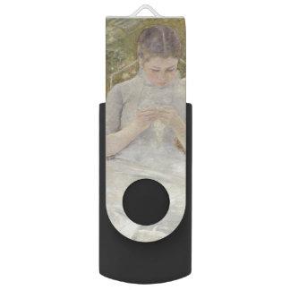 Girl in the Garden by Mary Cassatt Swivel USB 2.0 Flash Drive