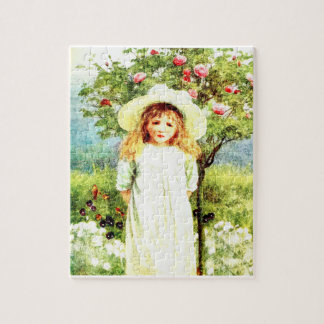 Girl in the nature oil puzzle