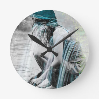 Girl in the Waterfall Round Clock