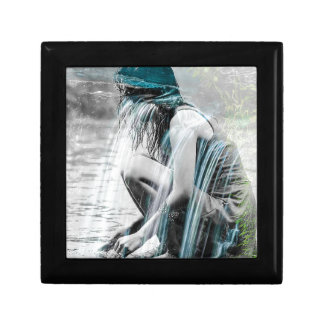 Girl in the Waterfall Small Square Gift Box