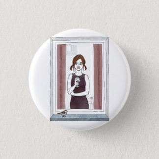 girl in the window 3 cm round badge