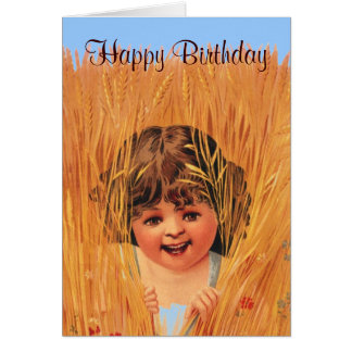Girl in Wheat, Happy Birthday Card