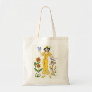 Girl in yellow dress in garden budget tote bag