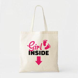 Girl inside tote bags