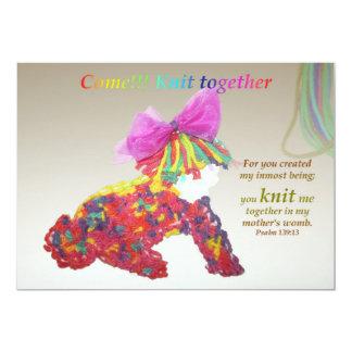 Girl Invitation Come Knit Together