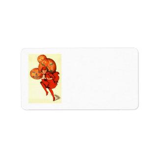 Girl Jack O Lantern Pumpkin Address Label