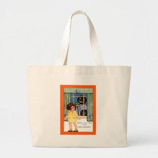 Girl Jack O' Lantern Pumpkin Trick Or Treat Jumbo Tote Bag
