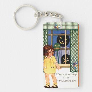 Girl Jack O' Lantern Pumpkin Trick Or Treat Double-Sided Rectangular Acrylic Key Ring