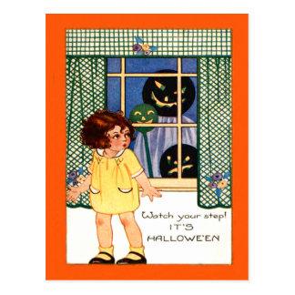 Girl Jack O' Lantern Pumpkin Trick Or Treat Postcard