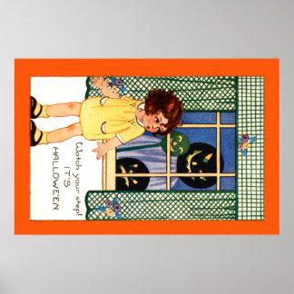 Girl Jack O' Lantern Pumpkin Trick Or Treat Poster