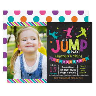 Girl Jump & Play Bounce House Birthday Invitations