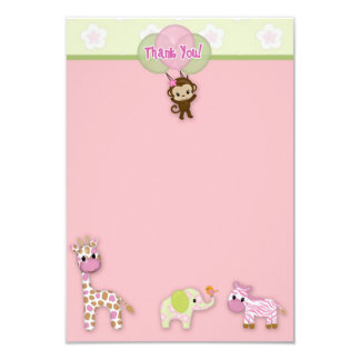 "Girl Jungle Animal Baby Shower Thank You 3.5""x5"" 9 Cm X 13 Cm Invitation Card"