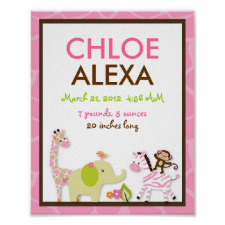 Girl Jungle Animal Nursery Wall Art Birth Print
