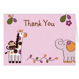 Girl Jungle Animal Thank You Note Cards
