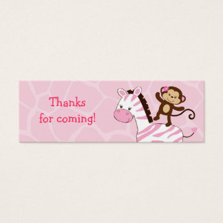 Girl Jungle Monkey Baby Shower Favor Gift Tags Mini Business Card