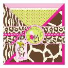 Girl Jungle Monkey Safari Baby Shower Card