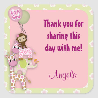 Girl Jungle Safari Animal Baby square sticker pink
