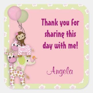 Girl Jungle Safari Animal square sticker pink JJ