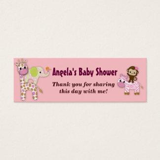 Girl Jungle Safari Baby Shower Favor Gift Tags Mini Business Card