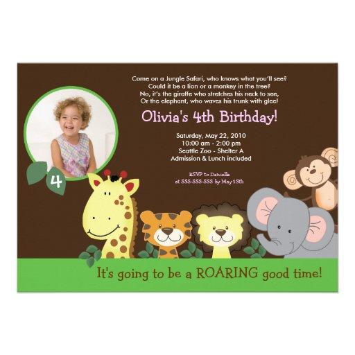 Girl Jungle Safari Zoo Animal Photo Birthday Custom Invitations