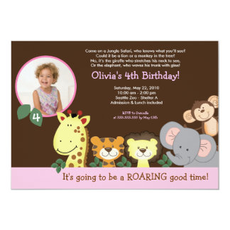 Girl Jungle Zoo Party Animal Photo Birthday 13 Cm X 18 Cm Invitation Card