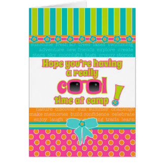 Girl Kids at Camp Really Cool Time Pink Sunglasses Greeting Card
